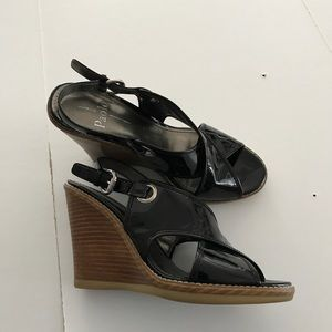 👡LINEA PAOLO patent leather wedge sandals NEW